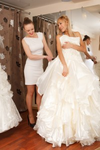 Women Shopping For Wedding Dress