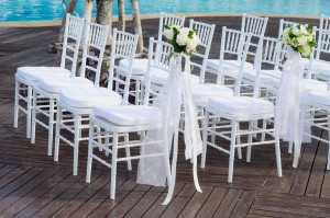 White wedding chair and flower